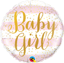 "Baby Girl Pink Stripes Foil Balloon (18"") 1pc"